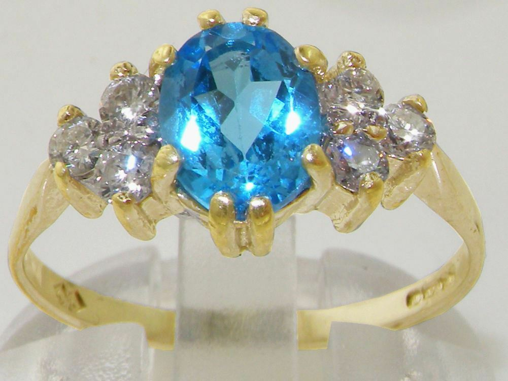 10ct Yellow gold Natural bluee Topaz and CZ Womens Classic Ring -Size J to Z