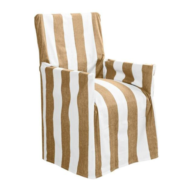 Stripes Indoor Outdoor Taupe Cotton Director Chair Cover **FREE DELIVERY**