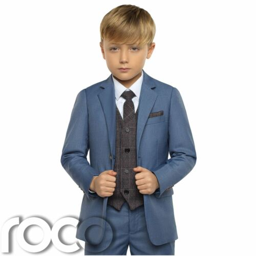 Boys Chambray Suit Boys Blue Check Waistcoat Boys Wedding Suits Page Boy Suit