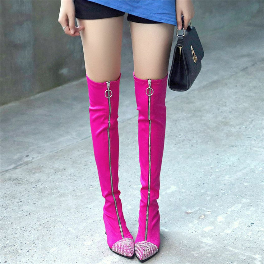 Sexy Women Stretchy Fabric Thigh High Boots Boots Boots Over the Knee Ankle Party Oxfords 01f8a0