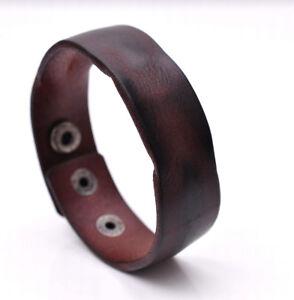 Handmade-Distressed-Genuine-Leather-Bracelet-Cuff-Wristband-Brown-Mens-Unisex