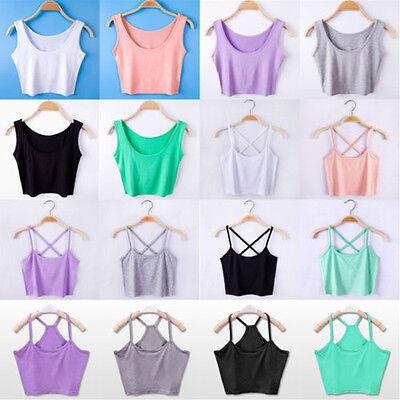 New Women's Sleeveless Tank Tops Cami Summer T-Shirt Summer Vest Crop Top Blouse