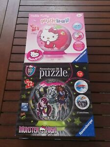 Hello-kitty-amp-Monster-High-3d-Puzzle-ball-72-piece-is-a-Jigsaw-game-bundle