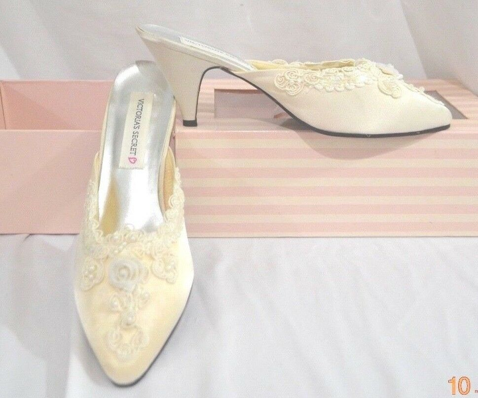 Victorias Secret Vintage Satin  HOLLYWOOD GLAMOUR SEQUIN Boudoir Slippers BRIDE 9  negozio online