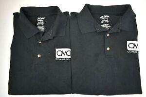 Lot-of-2-Gildan-DryBlend-Men-039-s-Large-OMC-Commercial-Black-Polo-Shirts