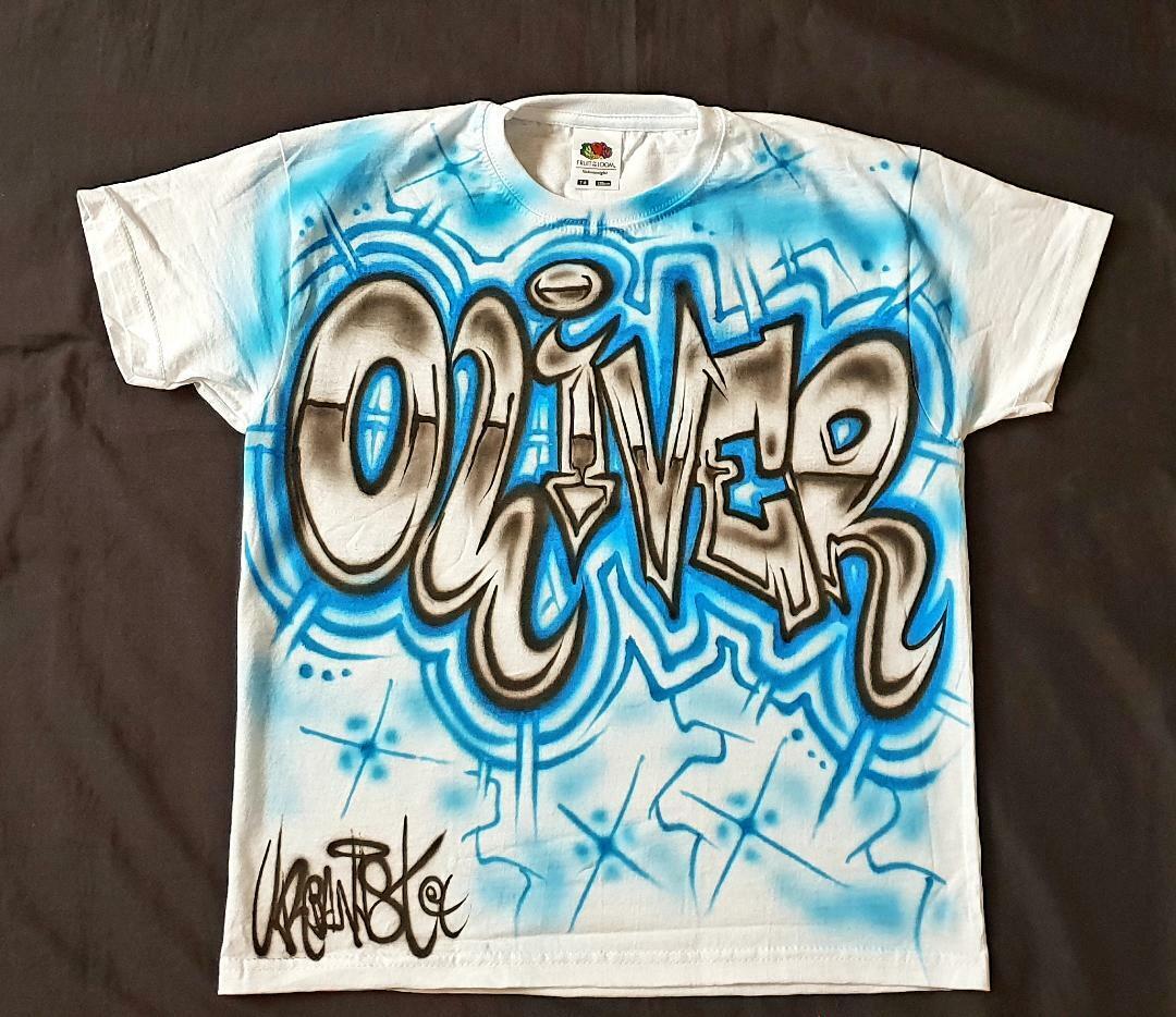 Urbanist Personalised kids Streetdance, HipHop T-shirt Airbrushed Block Graffiti
