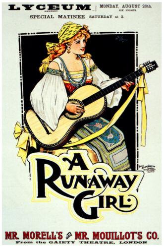Vintage Decoration /& Design Poster.Guitar Girl.Home wall art Decor 789i