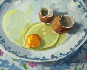 """Original Still Life Painting - """"Raw Egg on Plate"""" (8 x 10 inch) by John Wallie"""