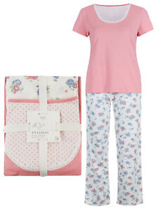 Ladies-M-amp-S-Pure-100-Cotton-CORAL-Pyjama-Set-Pull-on-top-amp-bottoms-PJ-8-10