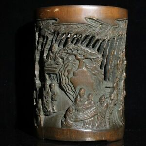 Exquisite carved man playing chess landscape statue natural bamboo Pen Brush pot