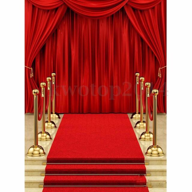 5x7FT Vinyl Red Carpet Curtain Backdrop Photography Background Photo Studio  D