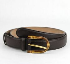$480 Gucci Women's Cocoa Brown Leather Belt w/Bamboo Buckle 90/36 322954 2140