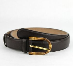 3b994c100 $480 Gucci Women's Cocoa Brown Leather Belt w/Bamboo Buckle 85/34 ...