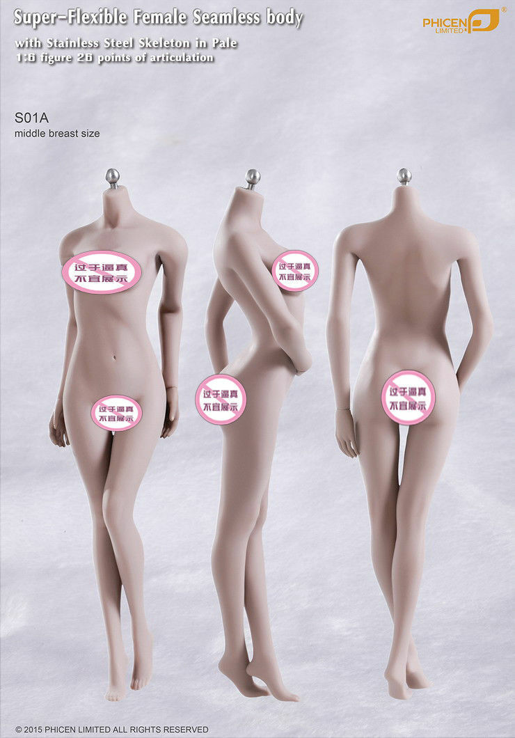 1 6 Hembra pálido medio busto Tbleague ph cuerpo transparente sin cabeza S01A súper-Flexible