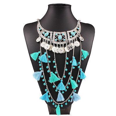 Lady Bohemian Fashion Coin Fringe Tassel Choker Statement Turquoise Bib Necklace