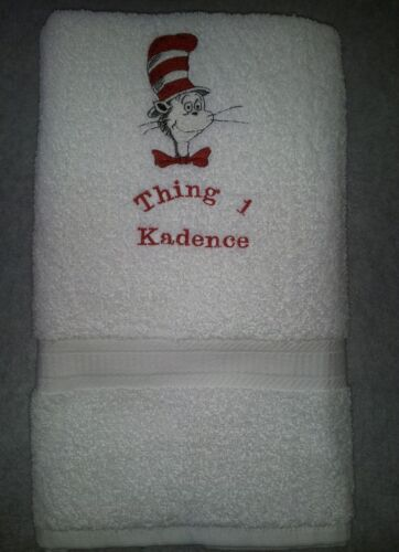PERSONALIZE DR SEUSS MOVIE CAT IN THE HAT BOOK WHITE BATH TOWEL CUSTOM