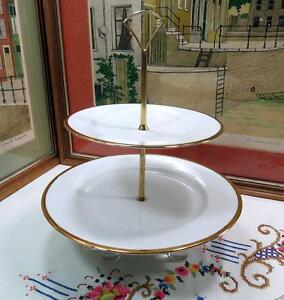"""THE CELLARS FOR FEDERATED STORES GOLD & WHITE 2 TIERED 9 3/4"""" HOSTESS TRAY 2000"""
