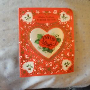 Details about Vintage Valentine\u0027s Day Card Gibson 50V87052 MOTHER and DAD,  Satin Heart