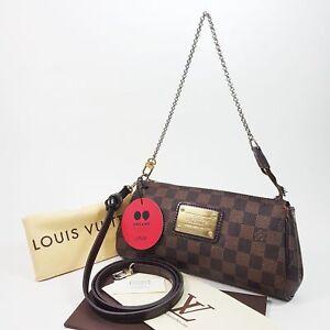 4d15d9f9148f Louis Vuitton Eva Damier Ebene Clutch Chain Shouler Brown Leather ...