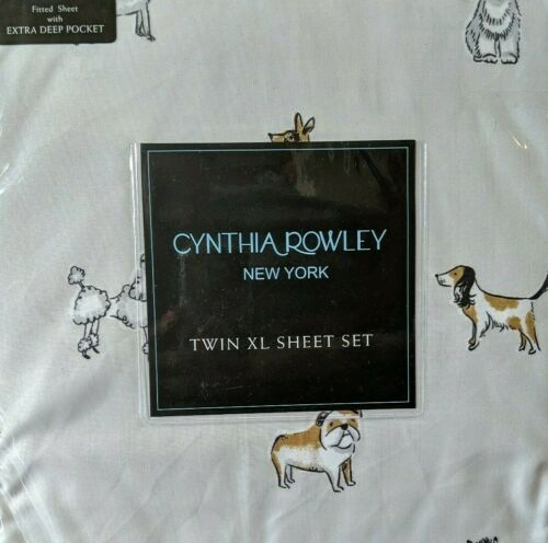 Cynthia Rowley Dog Sheet Set Gray Schnauzer Poodle Westie New Pick the Size