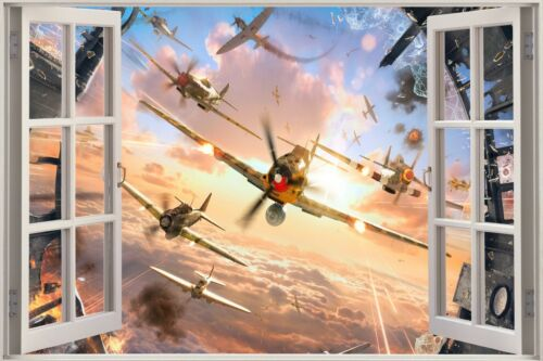 3D Effect Window View Plane Spitfire Army Jet Sticker Wall Poster Vinyl GA1-385