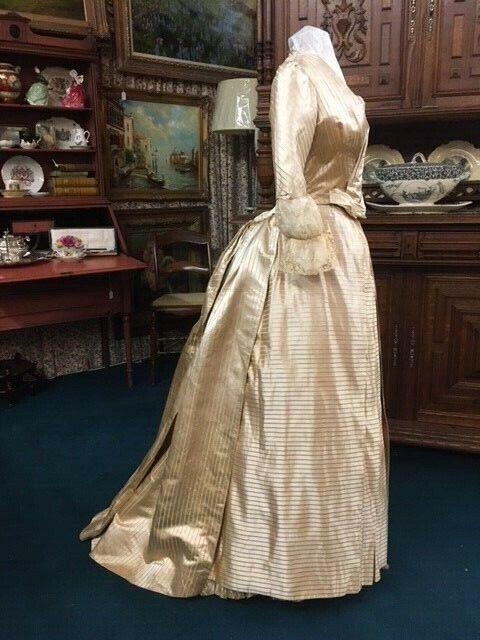 #21-099, Stunning 1880's Ivory & Yellow Silk Stripe Ballgown