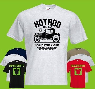 HOTROD T SHIRT OLD SCHOOL SERVICE REPAIRS WASHING VINTAGE mens S-3XL