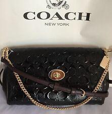 COACH F55452 Debossed Patent Leather Ruby Crossbody Handbag IM/Black/Oxblood NWT