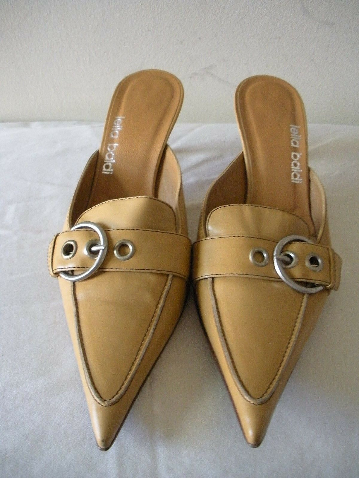 SEXY   235 LELLA BALDI Tan Leather Buckle Mules Slides Kitten shoes ITALY 37 7M