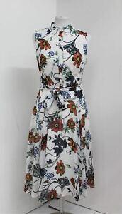 Hobbs-Damen-Elfenbein-Multi-Belinda-Belted-Kragen-Fit-amp-Flare-Kleid-uk16-NEU