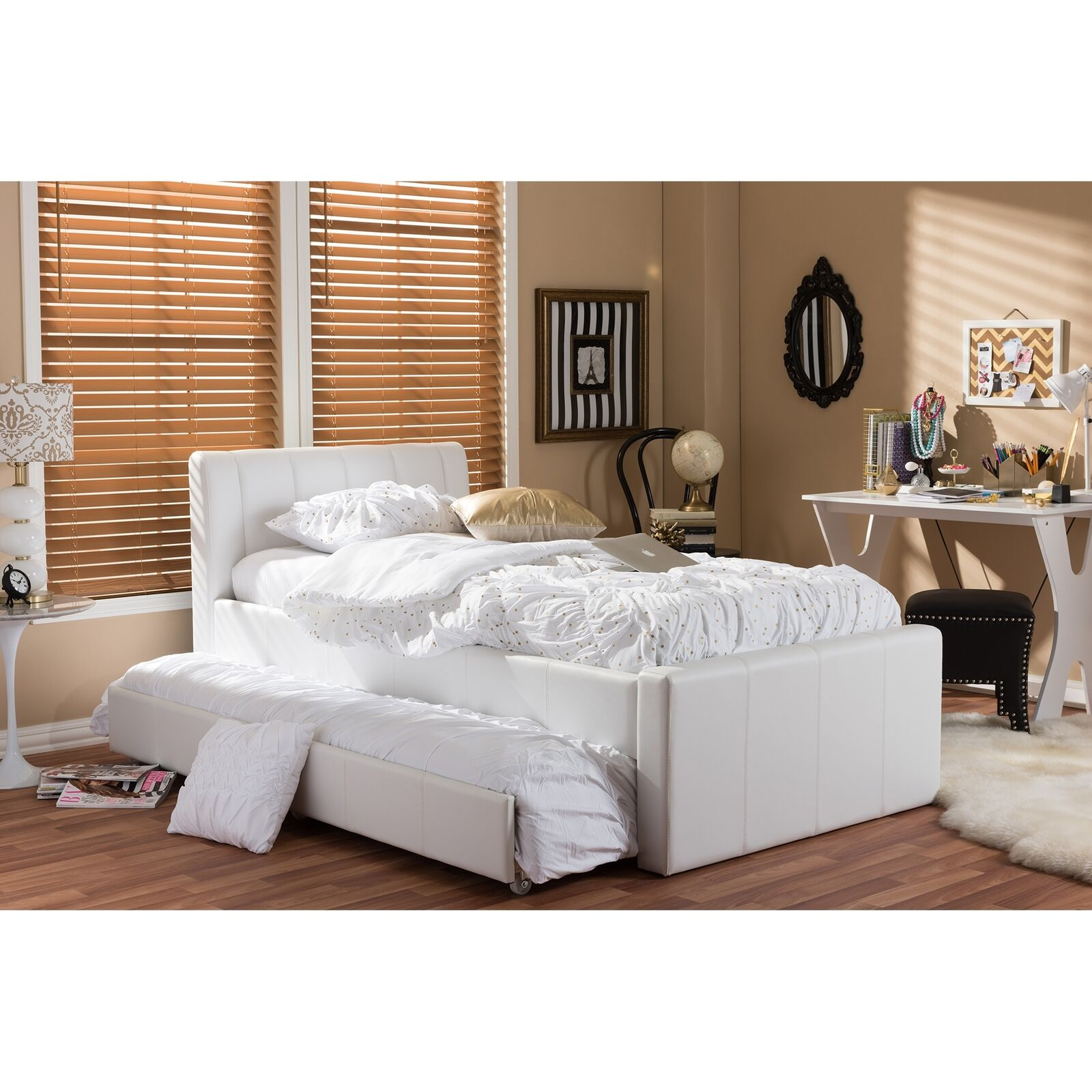 Twin Daybed With Trundle Bed Black Faux Leather Furniture Lounge Kids Guest Room For Sale Online Ebay