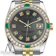 Ladies Rolex 36mm Datejust 2 Tone Black MOP Emerald Dial with Diamonds