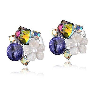 18k white gold earrings/studs crystal Earrings free shipping E1057