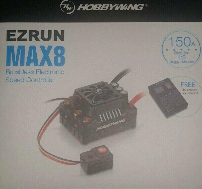 HOBBYWING EZRUN 150A MAX8 con LED programa tarjeta con P 1 8TH Genuino Producto Sellado