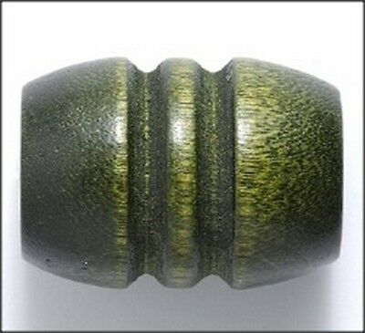 Green Wood Grooved Large Barrel Beads 28mm