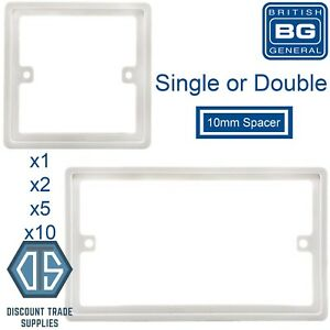 Details about BG 10mm 1G Single 2G Double Spacer Frame Light switch Socket  Back Box Plate Gang