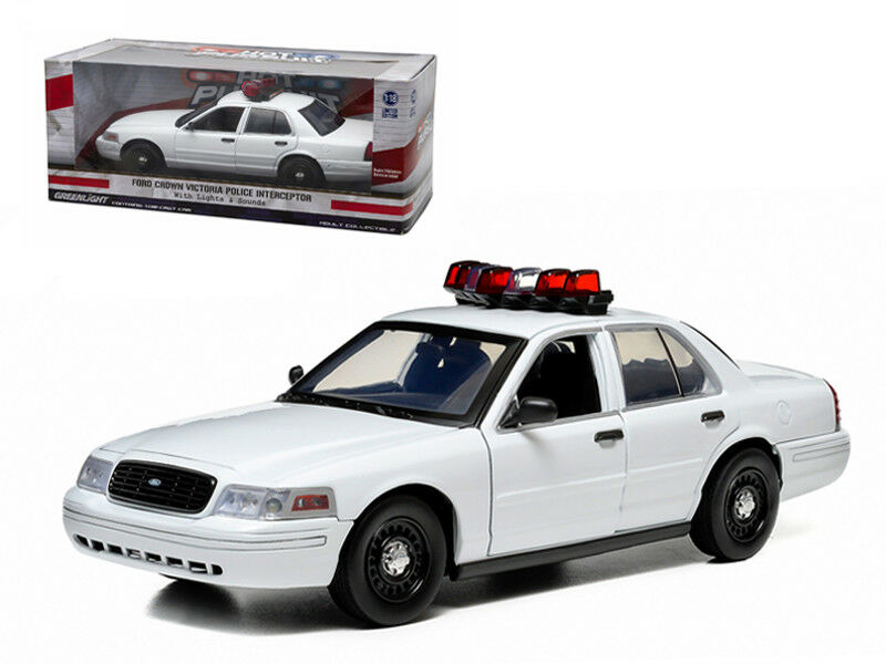Ford Crown Victoria Unmarked Plain blancoo Police Car Interceptor Lights & Sound