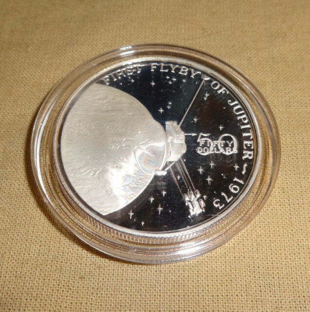 MARSHALL ISLANDS 5$ UNC COIN 1989 YEAR KM#13 SPACE FIRST MAN ON MOON