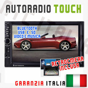 AUTORADIO-Touch-2Din-Universale-VIDEO-MP3-SD-USB-BLUETOOTH-AUX-RETROCAMERA