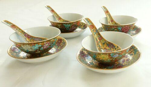 Chinese Porcelain Chrysanthemum Floral Rice Bowl Spoon Saucer Sets Jingdezhen