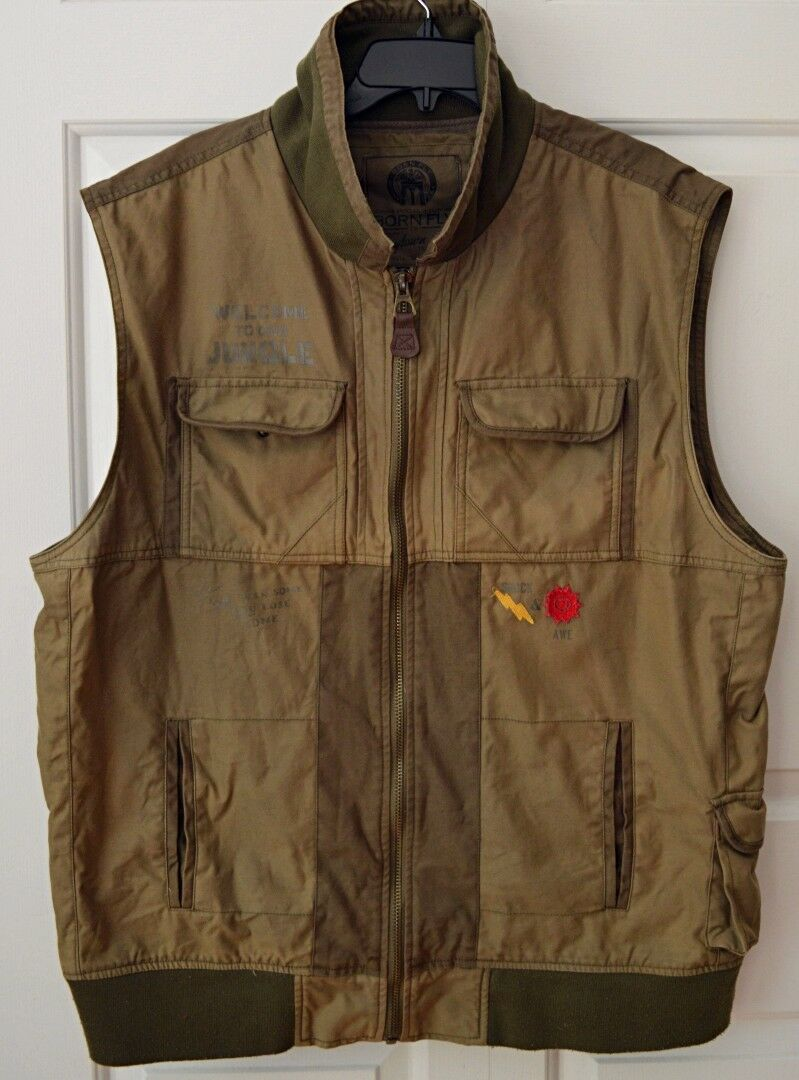Born Fly Anytown USA Mens 3X Welcome to Our Jungle Army Green Vest