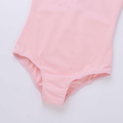 Kid Girls Floral Lace Short Sleeves Ballet Dancewear Gymnastics Leotard Bodysuit