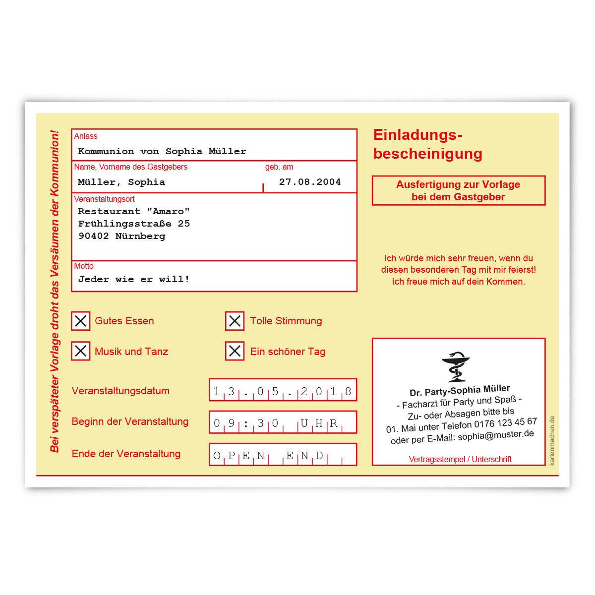 Einladungskarten Kommunion Einladungen - Krankschreibung Krankmeldung AU Gelb   Verschiedene Stile und Stile    Verkauf