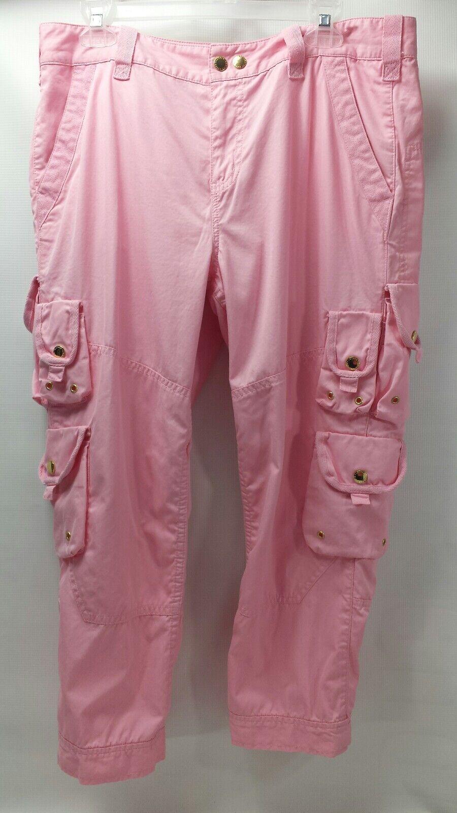 Lauren Ralph Lauren Petite Women Pink Cargo Cropped Capri Pants Sz 12P