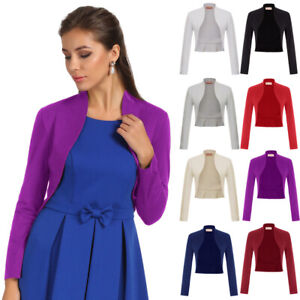 Women-039-s-Long-Sleeve-Bolero-Shrug-Coat-Tops-Stretch-Cropped-Cardigan-Top-Sweaters