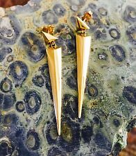 New!! SOLID 14k Yellow Gold Woman's Spike Triangle Drop Dangle Earrings