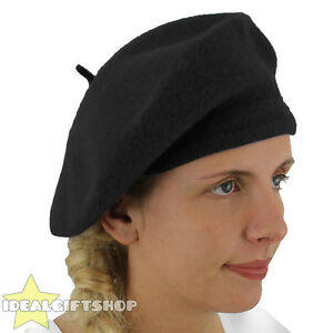 5adb41442ef LADIES BLACK BERET VINTAGE FRENCH CAP FANCY DRESS COSTUME HAT FRENCH ...