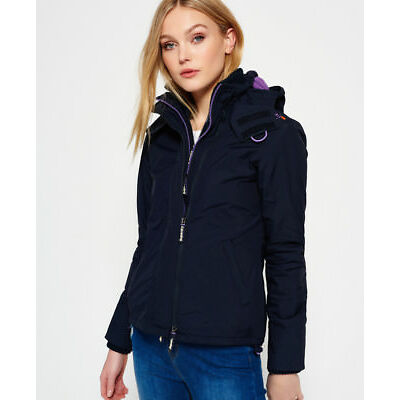 New Womens Superdry Pop Zip Hooded Arctic SD-Windcheater Jacket French Navy