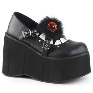 DEMONIA-Kera-11-Goth-Maryjane-Furry-Eyeball-Monster-Teeth-Platform-Shoes-Heels