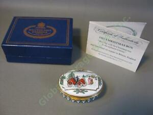 RARE-LE-1981-Halcyon-Days-Arriving-With-Christmas-Tree-1890s-Bilston-Enamel-Box